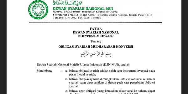 FATWA DEWAN SYARIAH NASIONAL NO: 59/DSN-MUI/V/2007 Tentang OBLIGASI SYARIAH MUDHARABAH KONVERSI