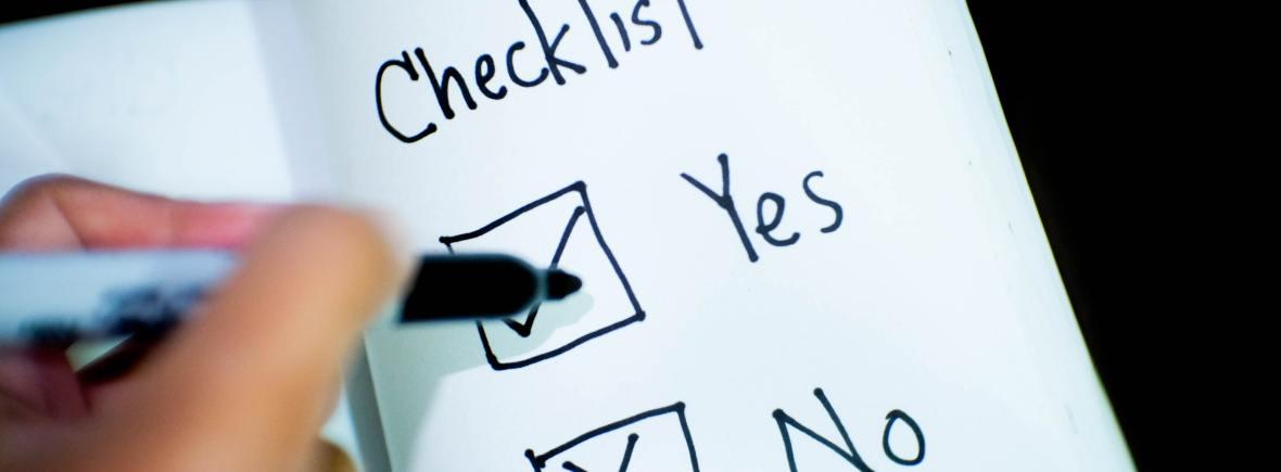 """Checkliste mit der Auswahl zwischen """"Yes"""" und """"No"""""""