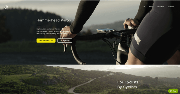 Hammerhead, a bicycle company website, also features a series of hero images.