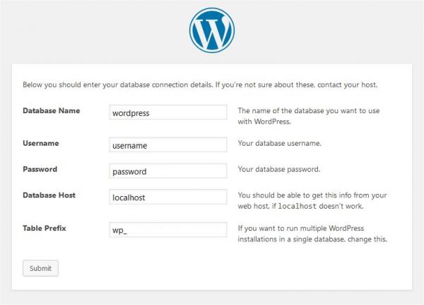 WordPress installation step 3