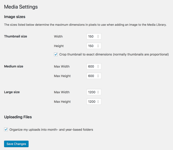The Media Settings page allows you to change the preset image sizes. Go to Settings → Media in your WordPress Dashboard to access these settings.