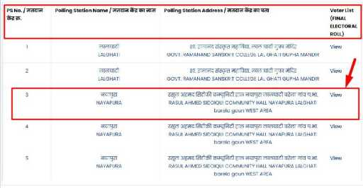selected polling station name for download mp voter list