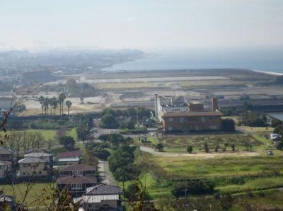 四山展望台から見える荒尾競馬場跡地