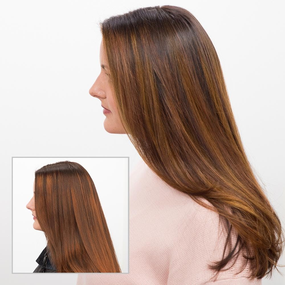 woman with brown hair before and after hair toner