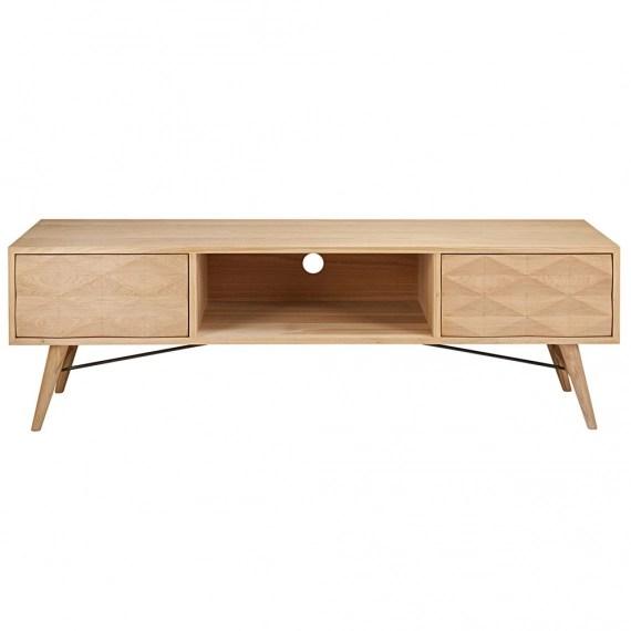 meuble tv 2 tiroirs en chene massif keops