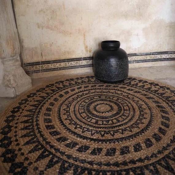 tapis rond reversible en jute naturel tisse main imprime moka casatera 120 cm