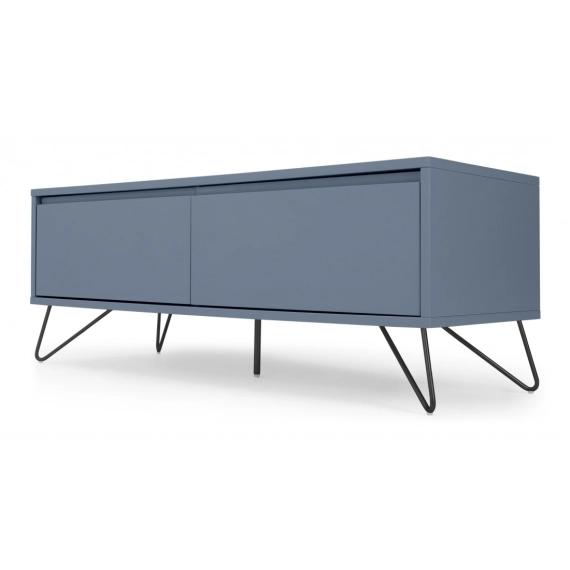 elona grand meuble tv bleu ardoise et metal noir