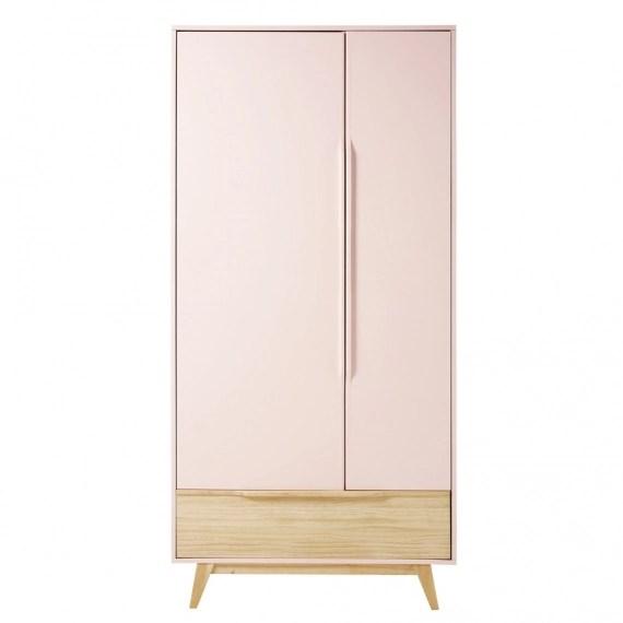 dressing vintage 2 portes 1 tiroir rose clair bucolique