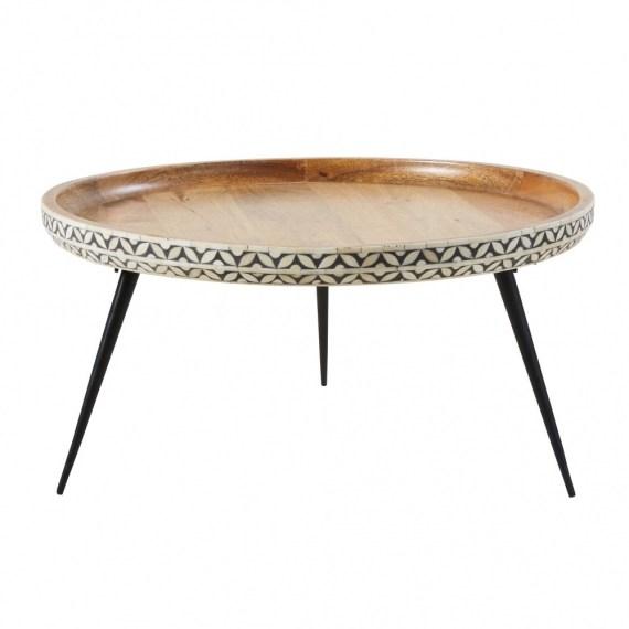 table basse ronde en manguier massif sculpte et metal noir krishna