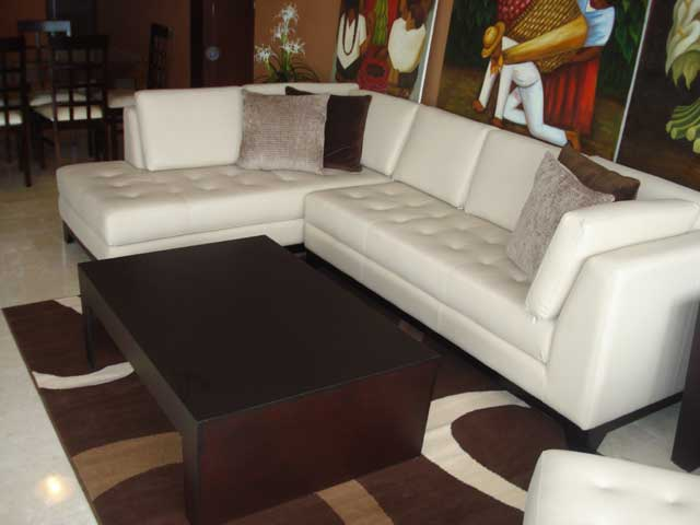 leather ivory sectional