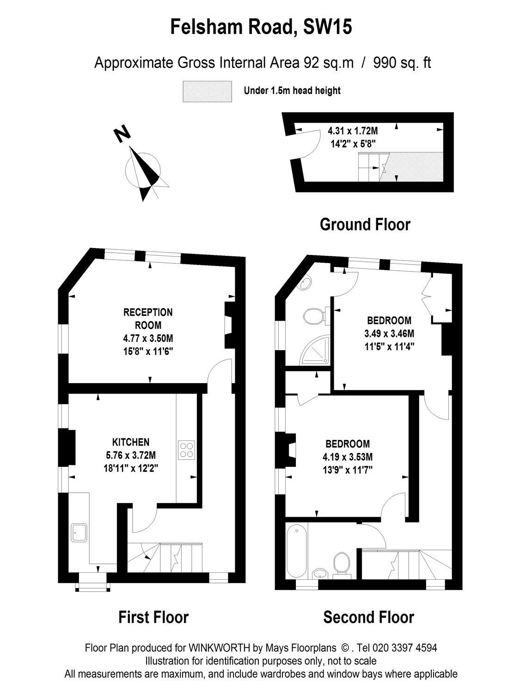 2 bedroom property to rent in Felsham Road, London, SW15
