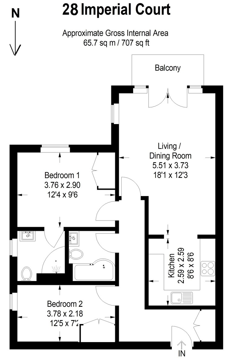 2 bedroom property for sale in Imperial Court, Market