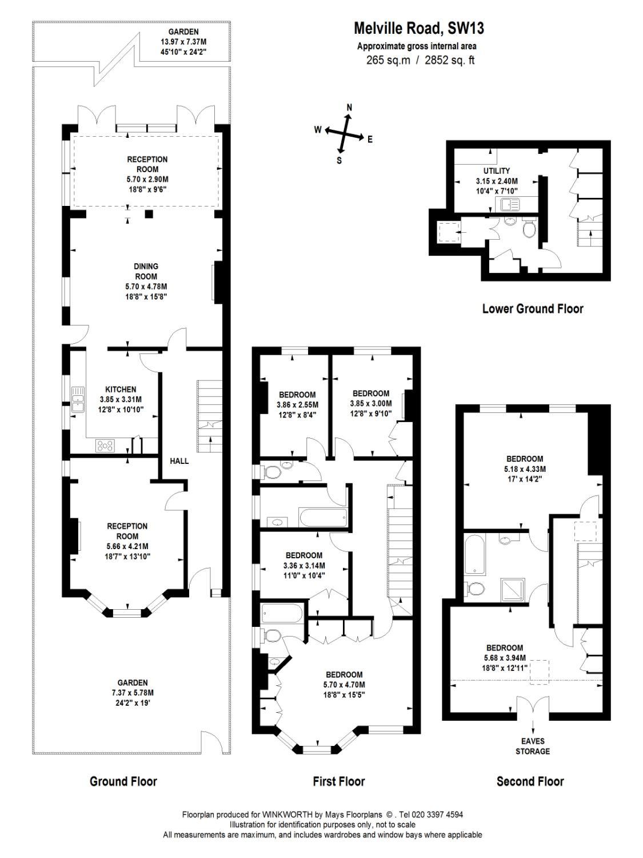 6 bedroom property to rent in Melville Road, Barnes, SW13