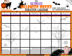 The Ultimate Halloween Movies List Calendar Mr and Mrs Halloween