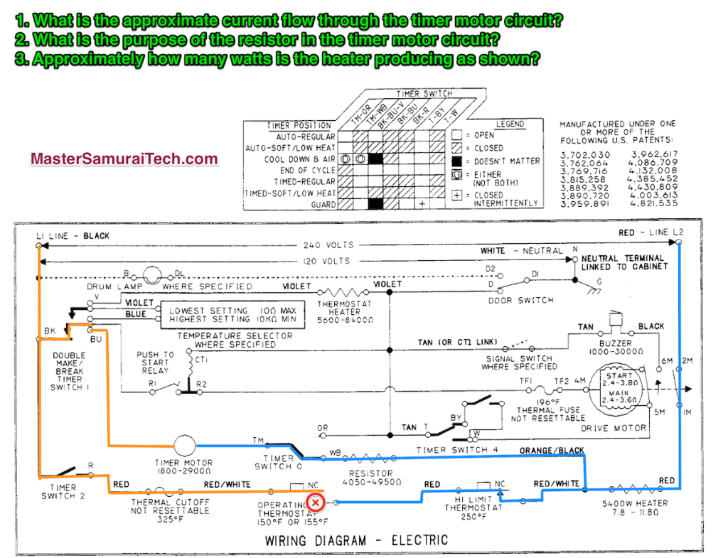 Dryer Schematic Quiz 2 - Click for Larger View (opens in a new window)