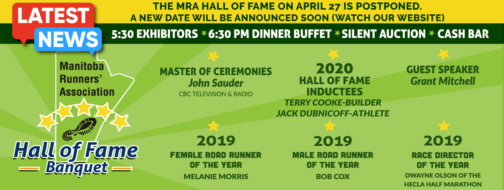 2020 MRA Hall of Fame Banquet - **POSTPONED TO APRIL, 2021**