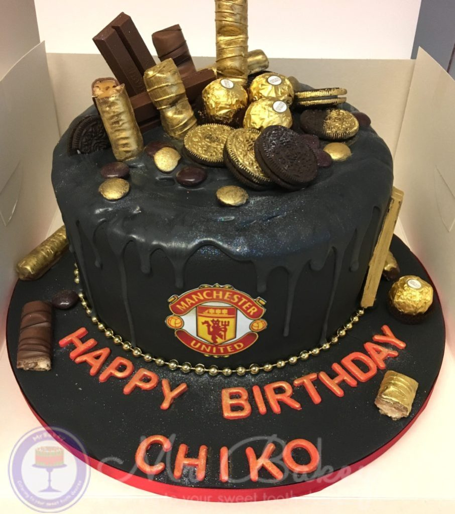 Manchester United Fc Gold Drip Cake Mr Bakey