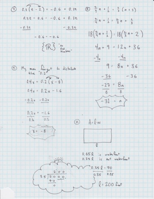 small resolution of Yesterday's Work: Unit 2 - Balancing Linear Equations - Have a Problem? Use  Math to Solve It!