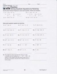 Solving Quadratic Equations Worksheet And Answers ...