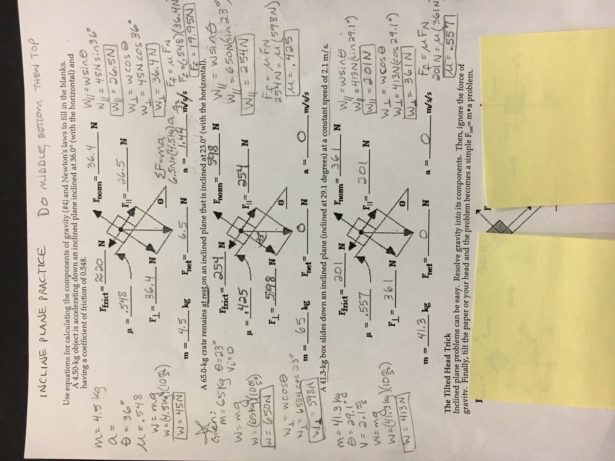 hight resolution of  2 complete problems 1 3 on the incline plane worksheet remember to show all work including free body diagrams inc plane ws jpg