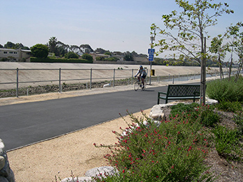 Bicyclist on Ballona Creek Trail and Bike Path