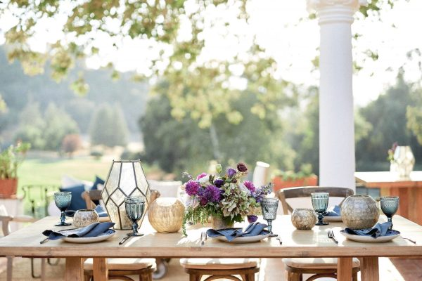 Fall Wedding Tabletop from the courtyard patio. Photography by Brandon Aquino, courtesy of Stop and Stare Events