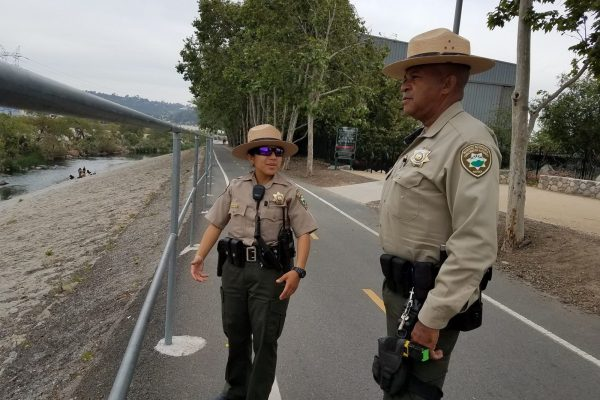 Rangers patrolling the Los Angeles River
