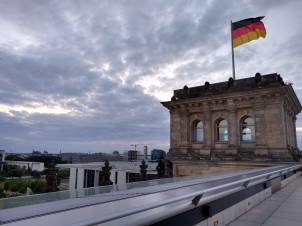 Berlin in the evening from the roof of the Bundestag