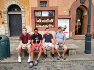 Some of the boys taking a break in old town Warsaw
