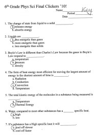 2009: 4th Quarter Assignments 6th Grade Physical Science ...