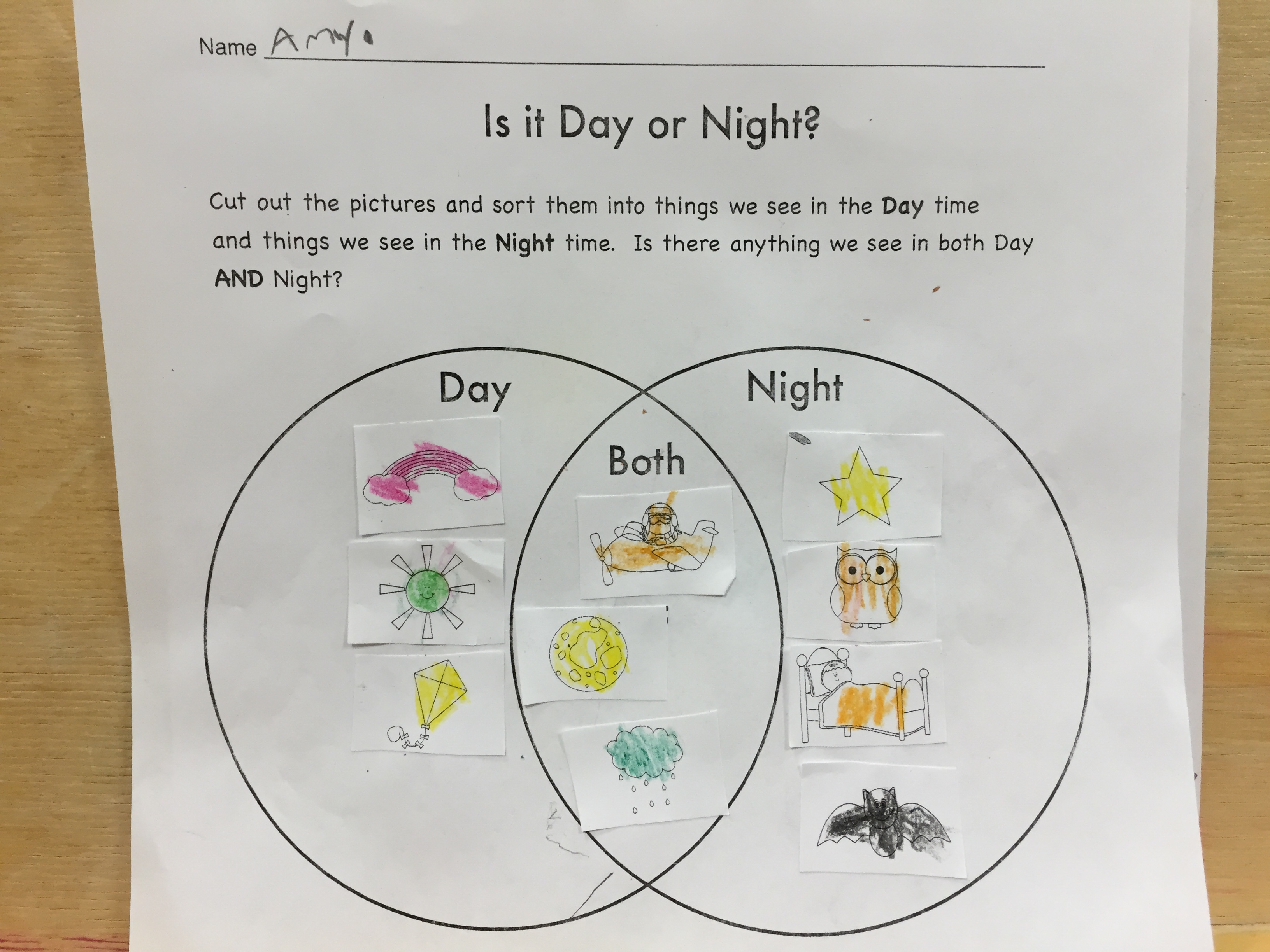 Worksheet For Preschool And Day Sky Night Sky On