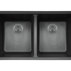 4 Hole Kitchen Faucets Seat Island 802-black Double Equal Bowl Trugranite Sink