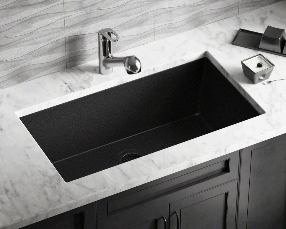 848black Large Single Bowl Undermount Trugranite Kitchen Sink