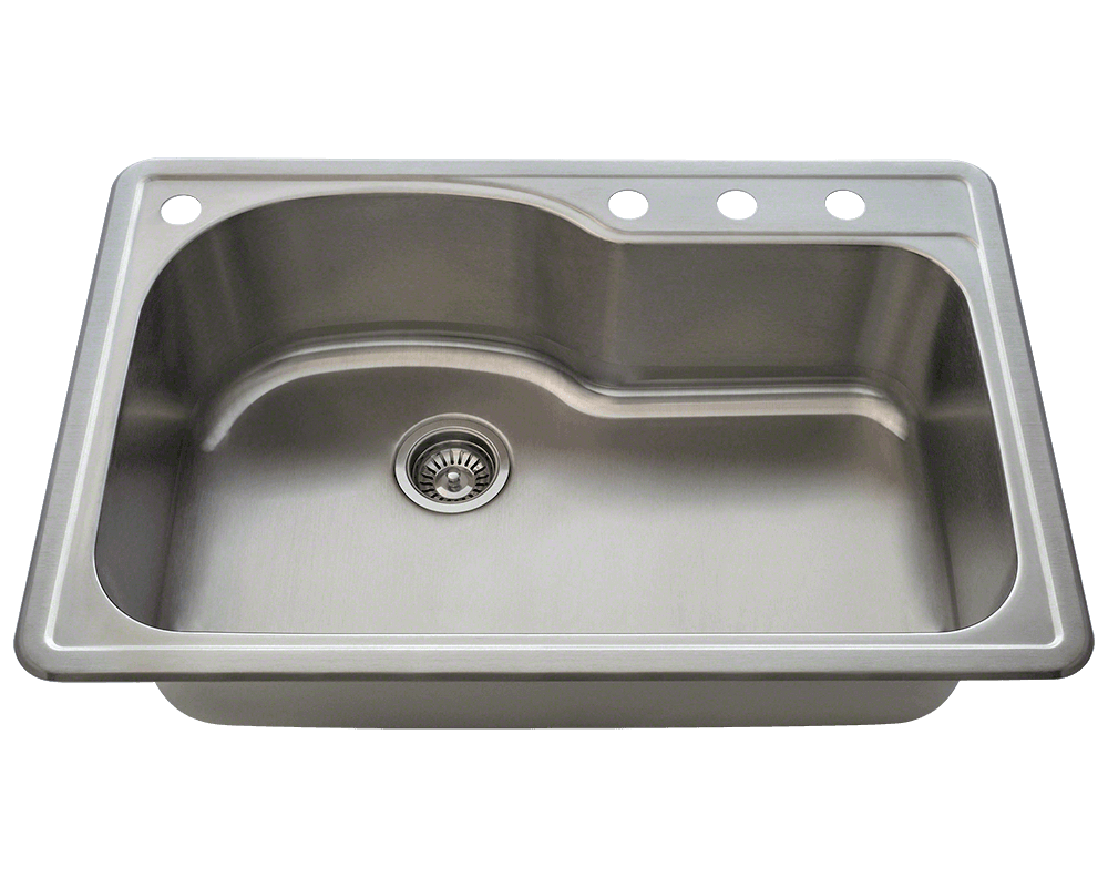 T346 Offset Single Bowl Topmount Stainless Steel Sink