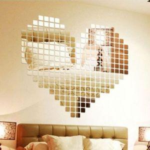100pcs 2x2cm Silver Shiny Acrylic 3d Mural Wall Sticker