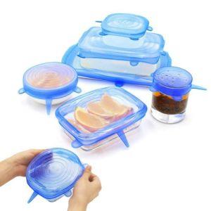 6pcs Reusable Silicon Stretch Lid Food Wrap Bowl Pan Kitchen
