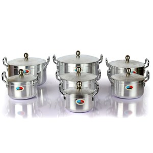 7pcs stainless stock pot with stainless  lid