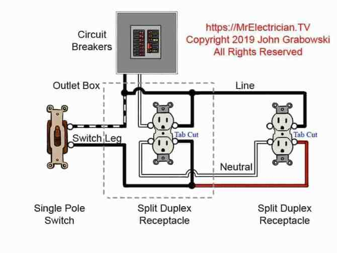 switched outlet wiring diagrams
