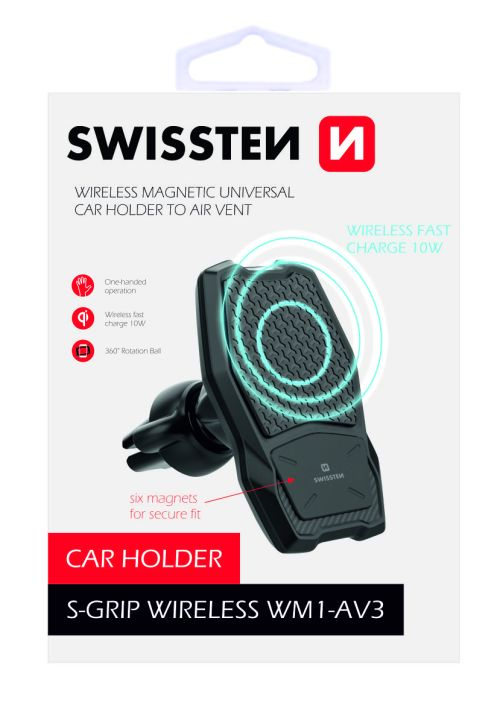 Swissten - Magnetic Car Air Vent Holder w/ Wireless Charger