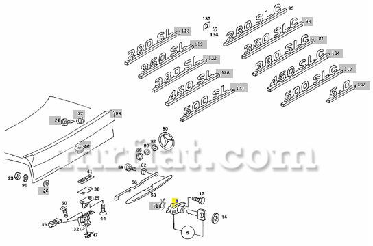 Mercedes 280SL 380SL 450SL 500SL 560SL Rear Trunk Lock No