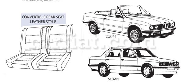 BMW 318 320 323 325 M3 Rear Vinyl Seat Covers Set 1983-93