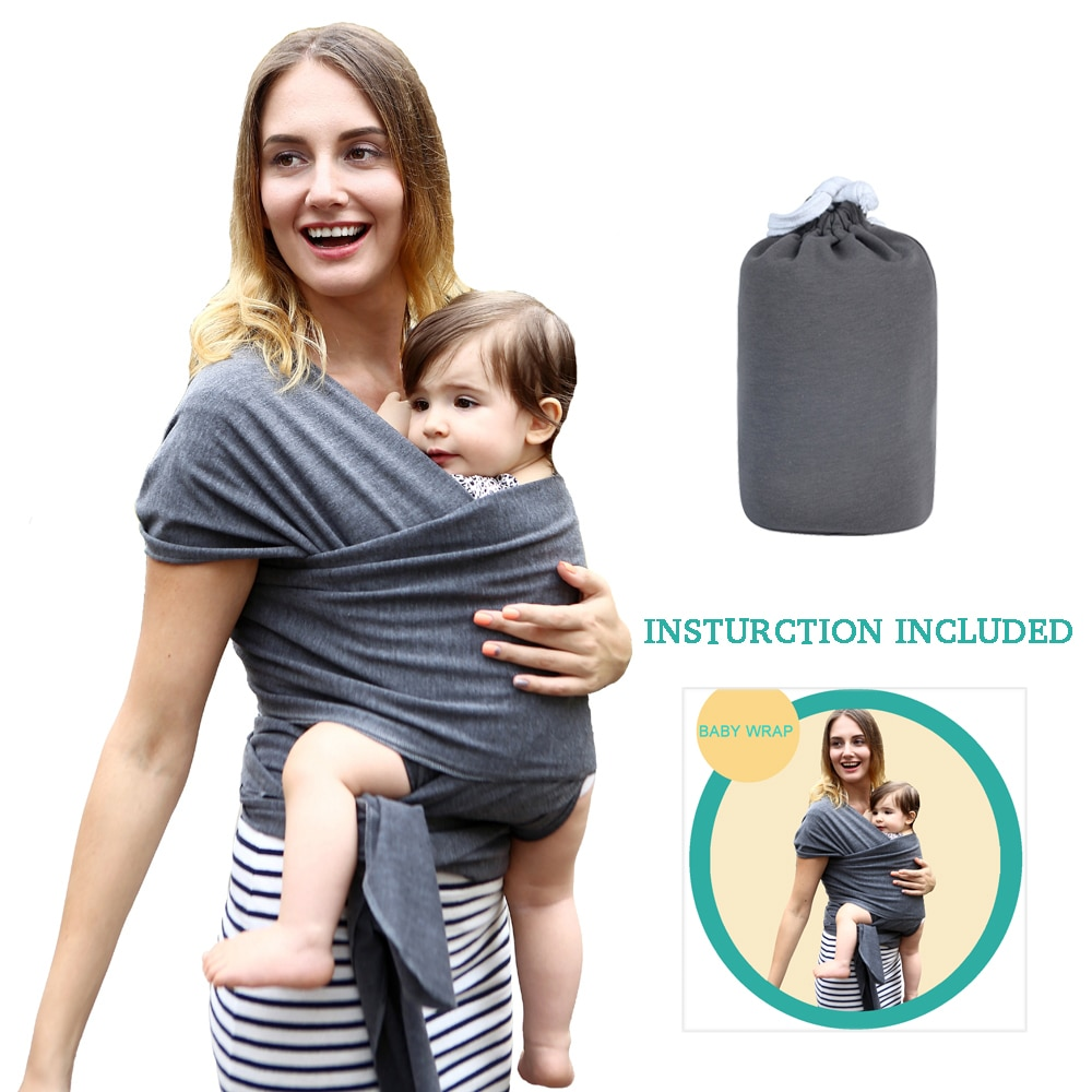 mom demonstrating baby carrier sling