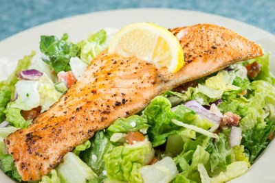 Salmon Over Chopped Salad