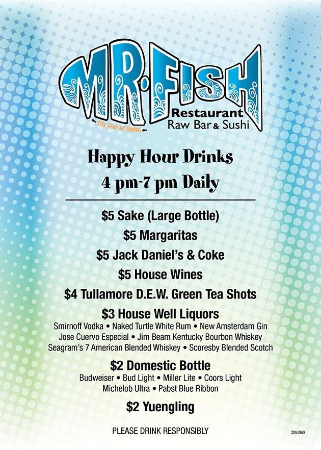 happy hour menu for Mr Fish in Myrtle Beach