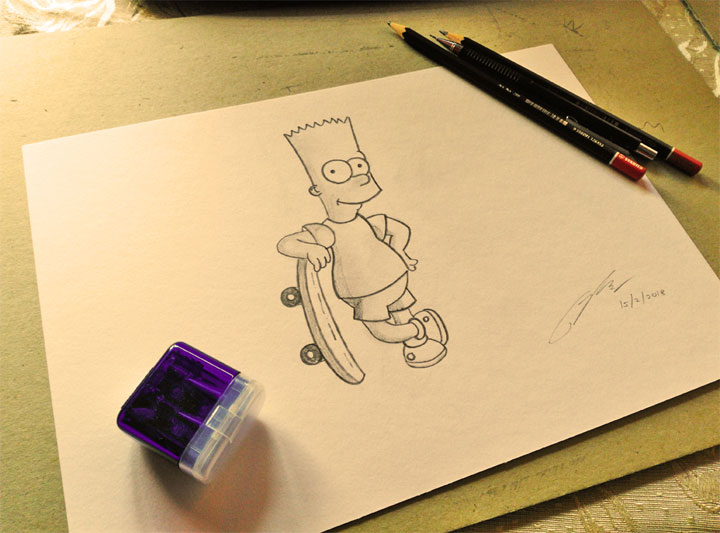 Bart Simpson Pencil Sketch by Shah Ibrahim