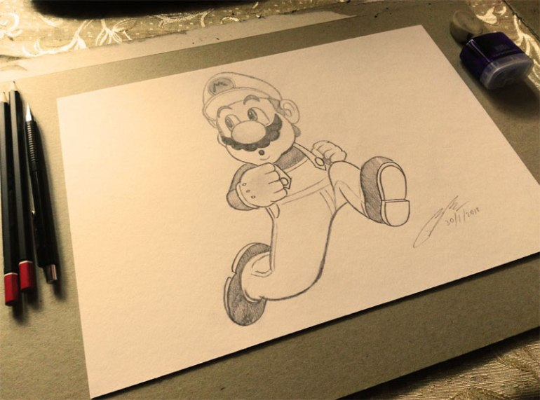Mario Pencil Sketch by Shah Ibrahim