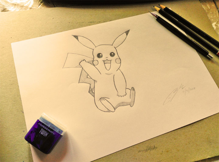 Pikachu Pokemon Pencil Sketch by Shah Ibrahim