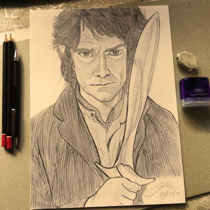 Bilbo Baggins Pencil Sketch by Shah Ibrahim