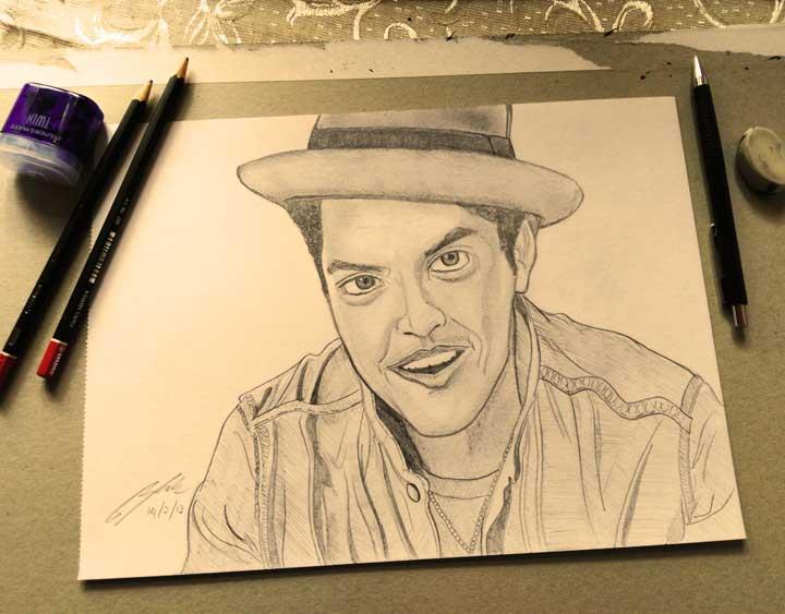 Bruno Mars Pencil Sketch by Shah Ibrahim
