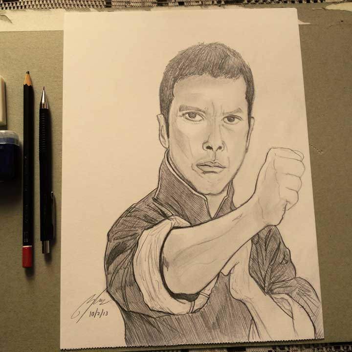 Donnie Yen Pencil Sketch by Shah Ibrahim